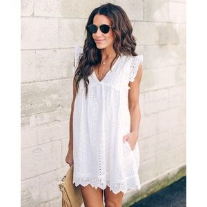 🆕Cotton Eyelet Pocketed Babydoll Dress